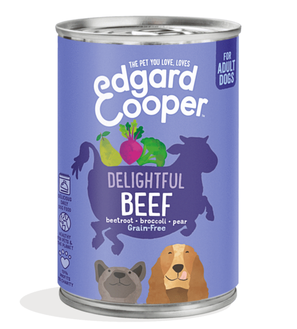 Edgard Cooper adult dog food beef 400g tin