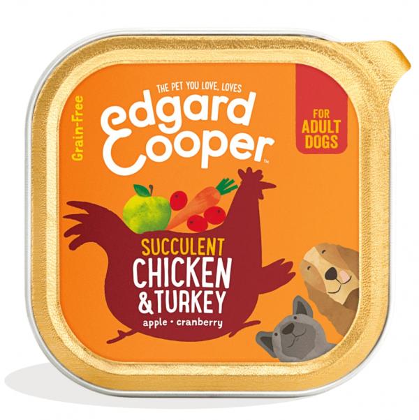 Edgard Cooper 150g dog food tray chicken turkey