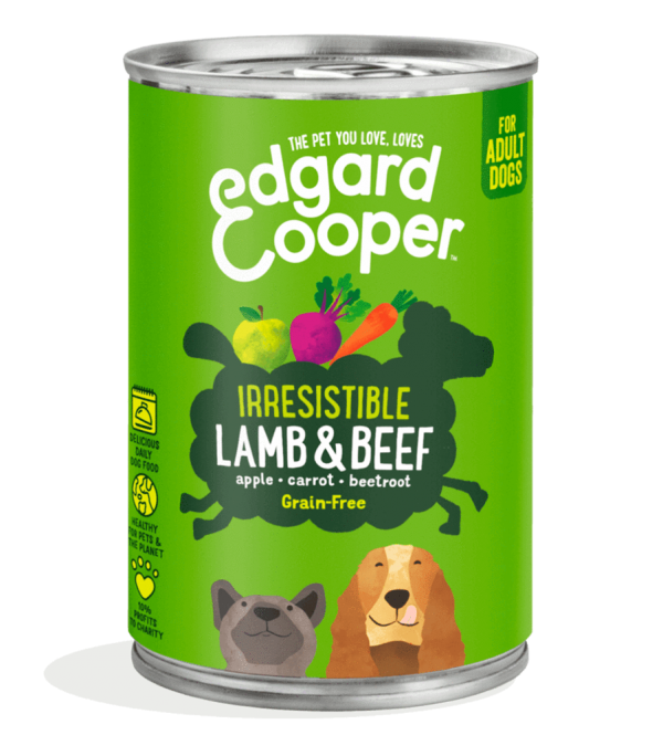 edgard cooper lamb beef dog food 400g tin
