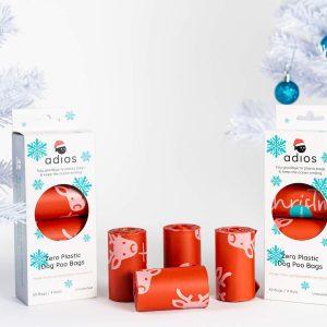 Adios Christmas compostable poo bags